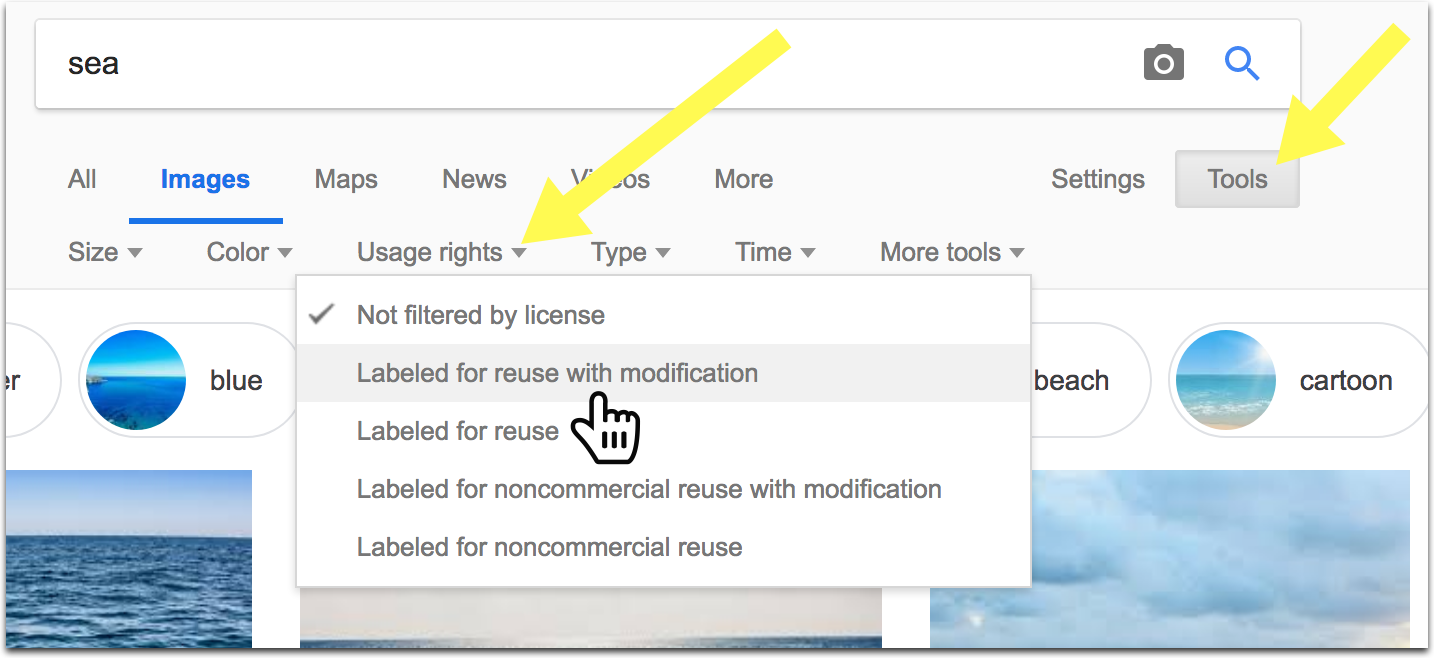 How to find copyright-free images in Google Images