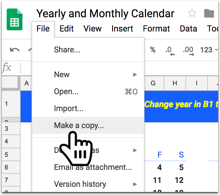 How to Create a Calendar in Google Spreadsheet - make a copy