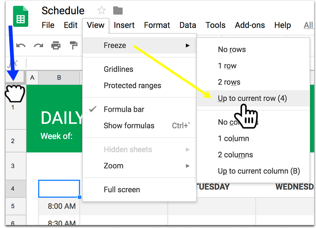 How to freeze header row in a Google Spreadsheet