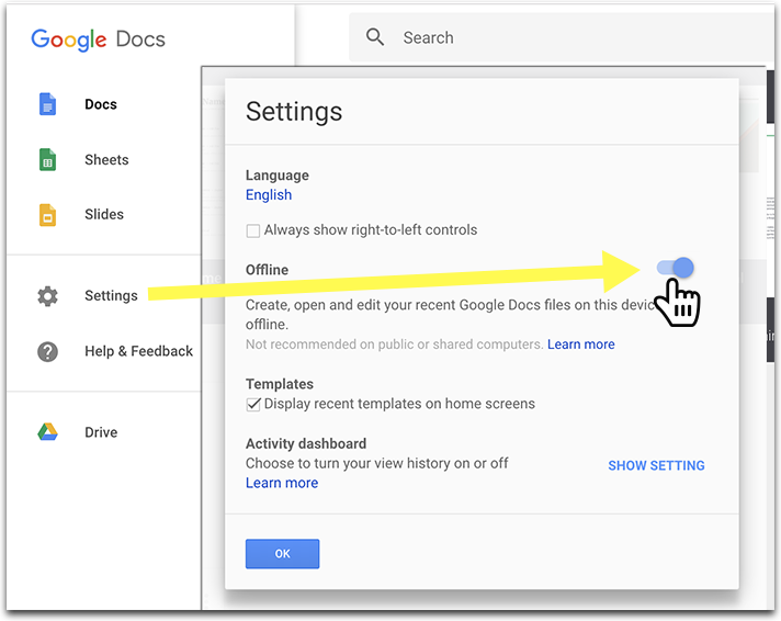how to make google spreadsheet available offline