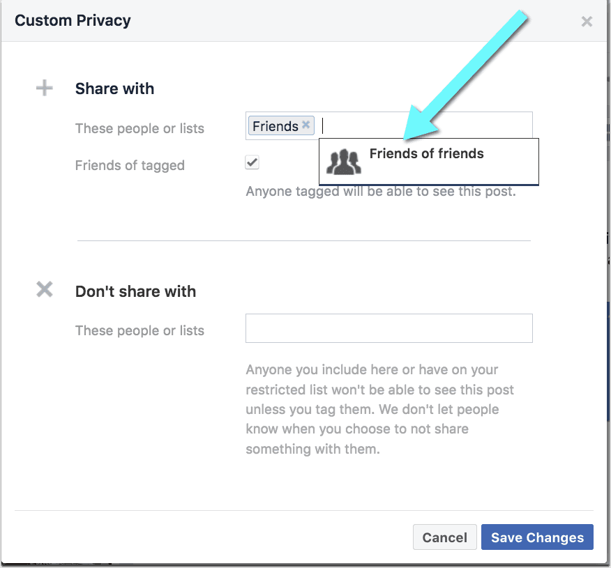 Facebook friends of friends settings