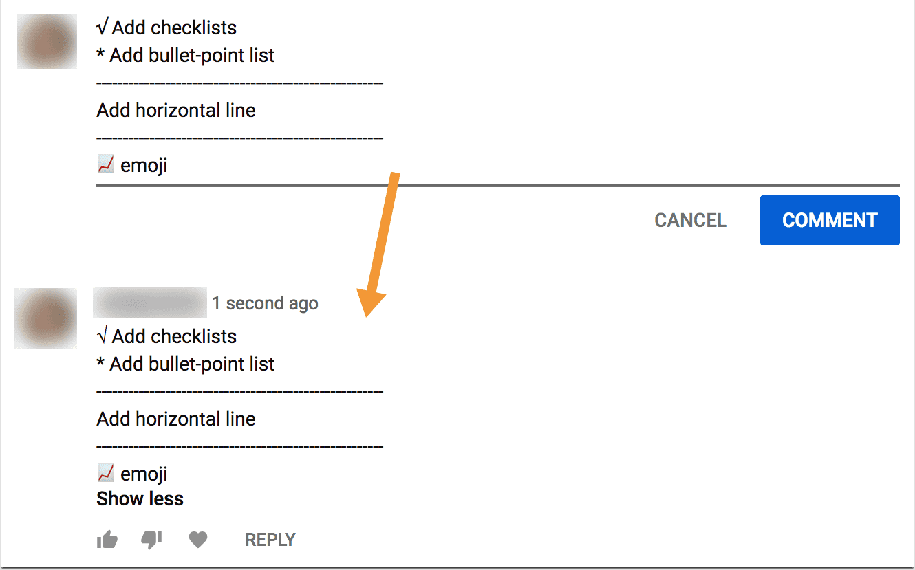 More formatting in Youtube comments