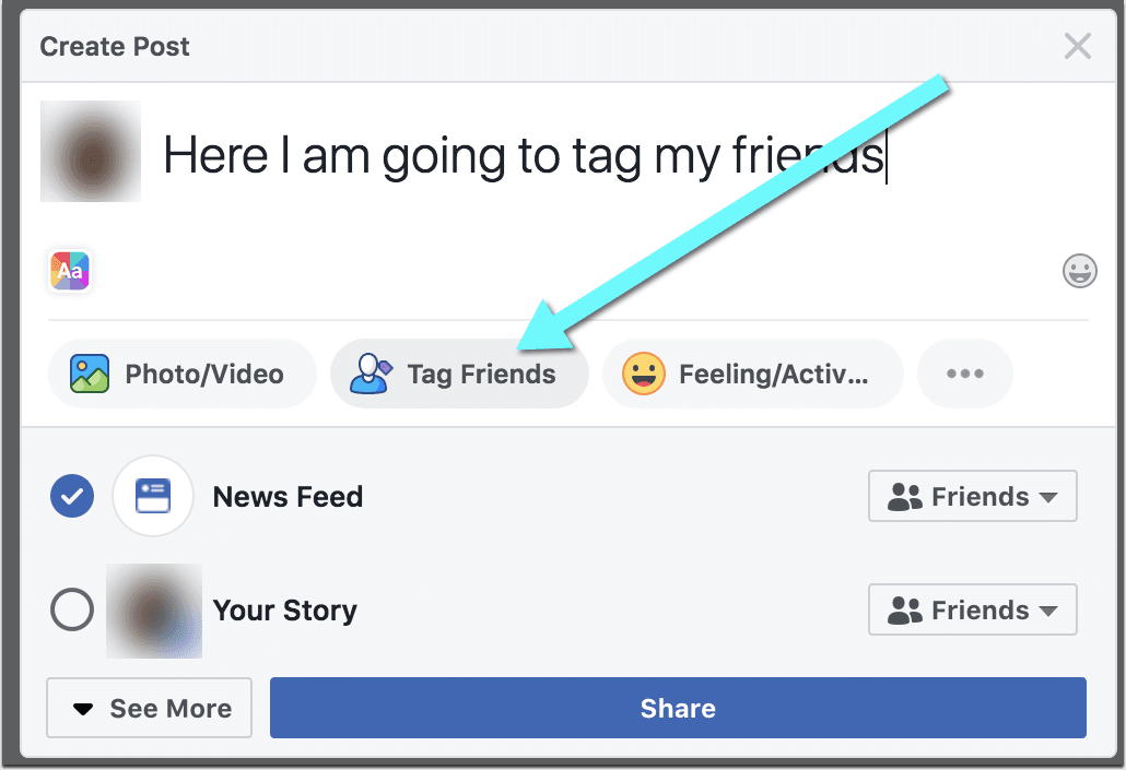 tag someone in a Facebook post?