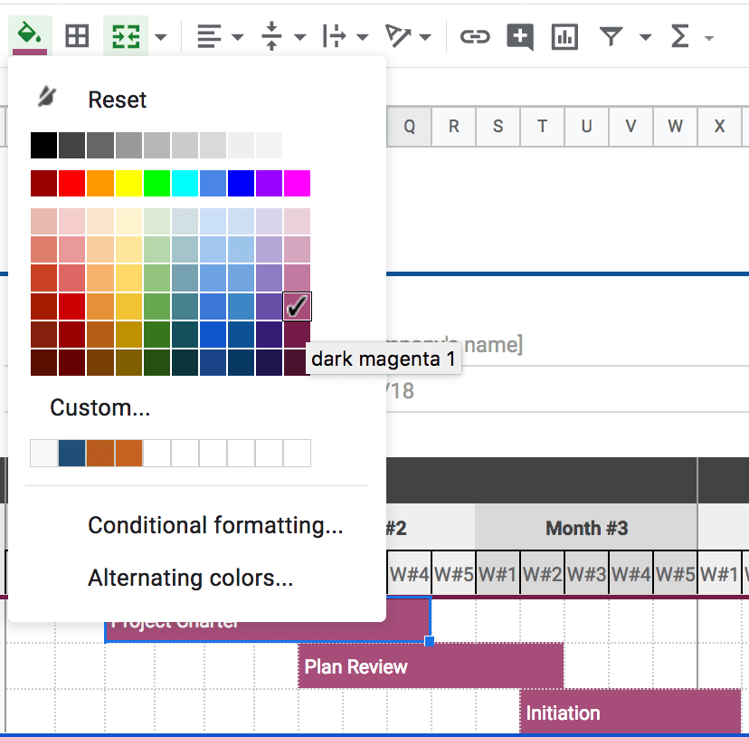 Fill cells in timeline