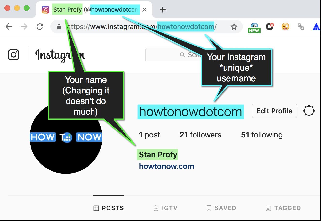 Instagram Username vs Instagram Name