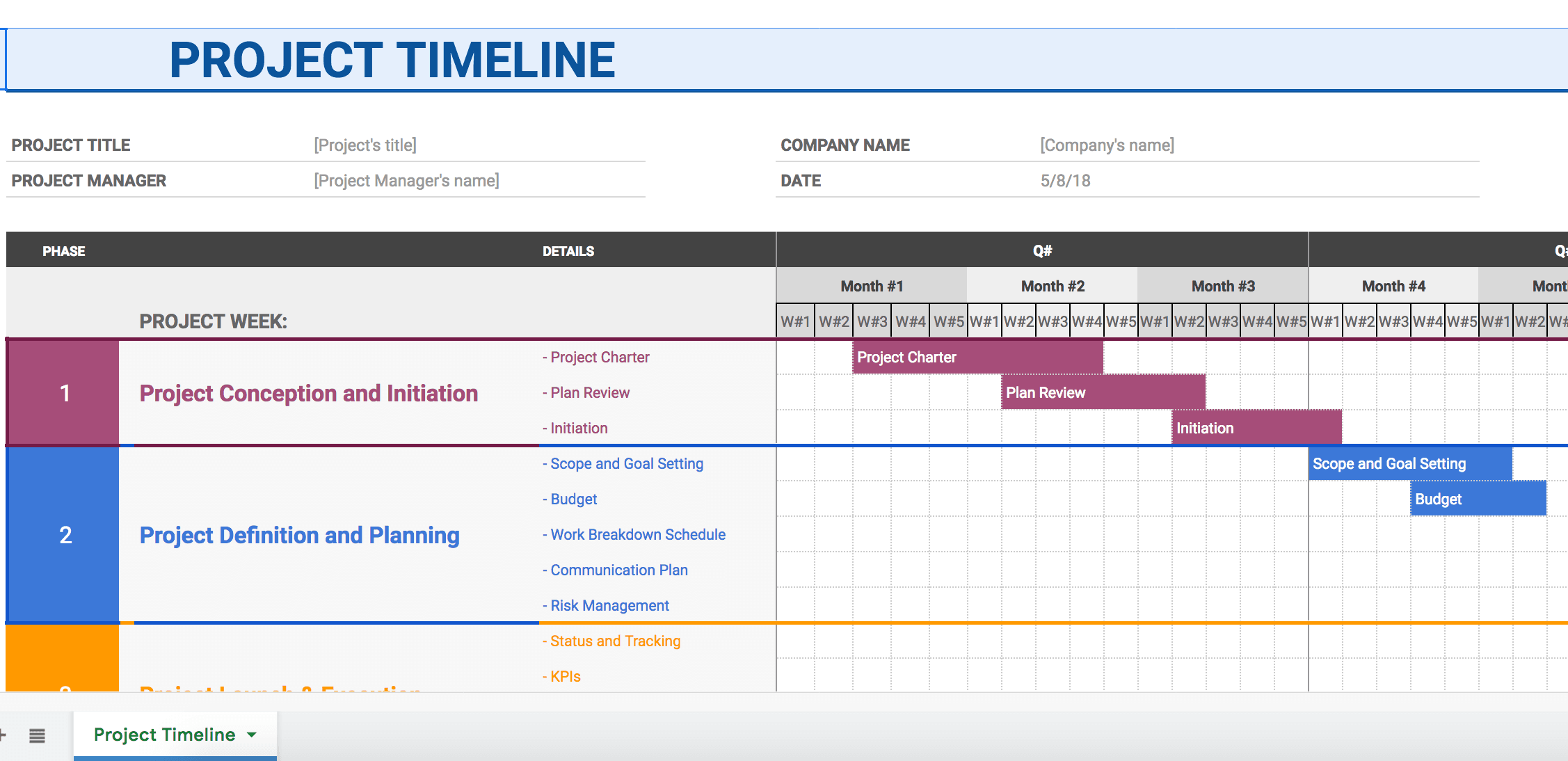 Project Timeline in Google Docs