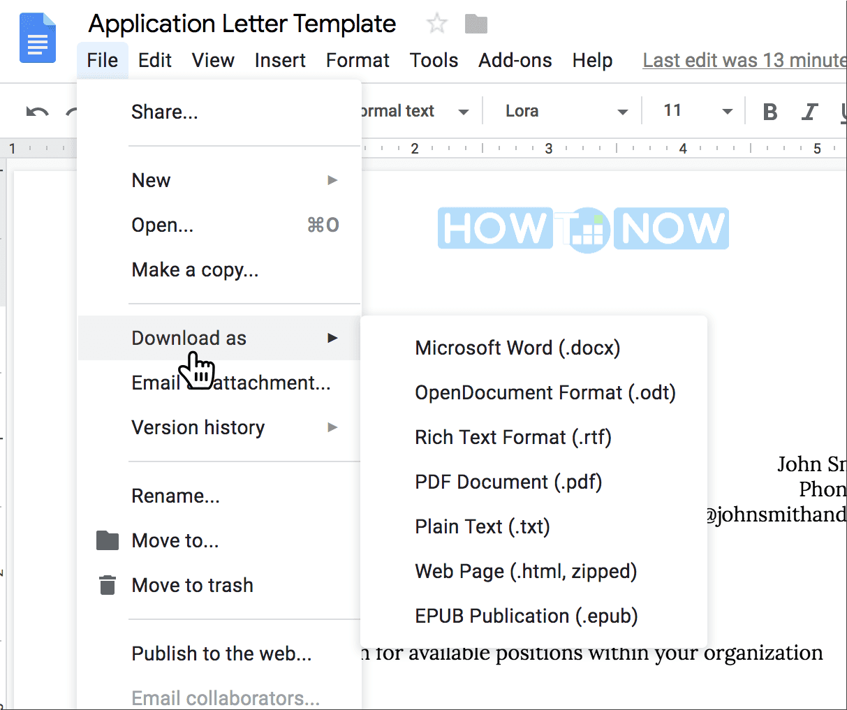 Download free cover letter template Google Docs
