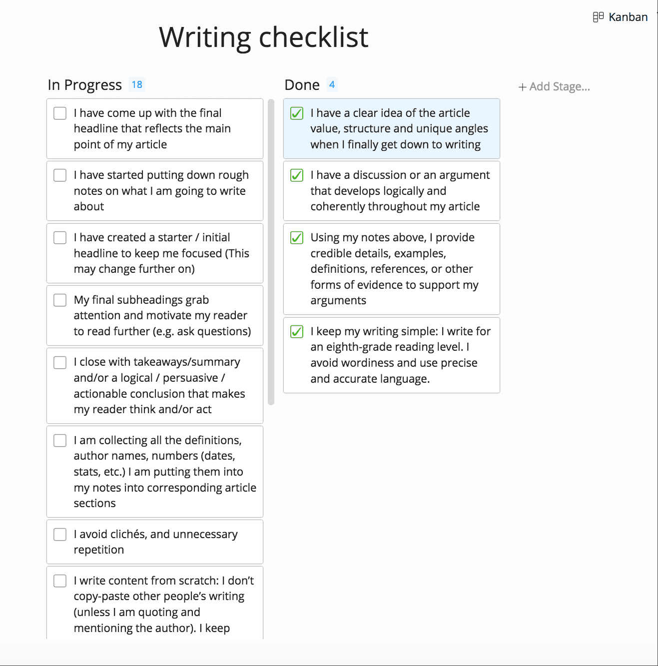 Writing checklist created with Zenkit