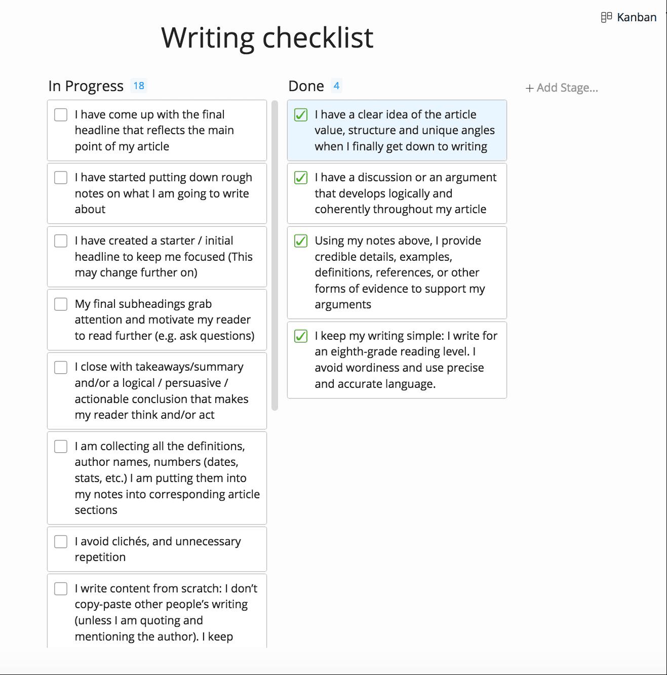 Écrire une liste de contrôle créée avec Zenkit