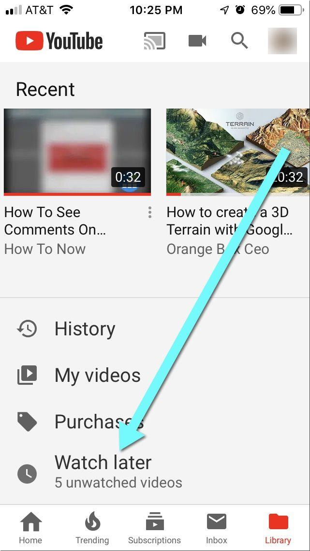 How to access watch later on Youtube mobile