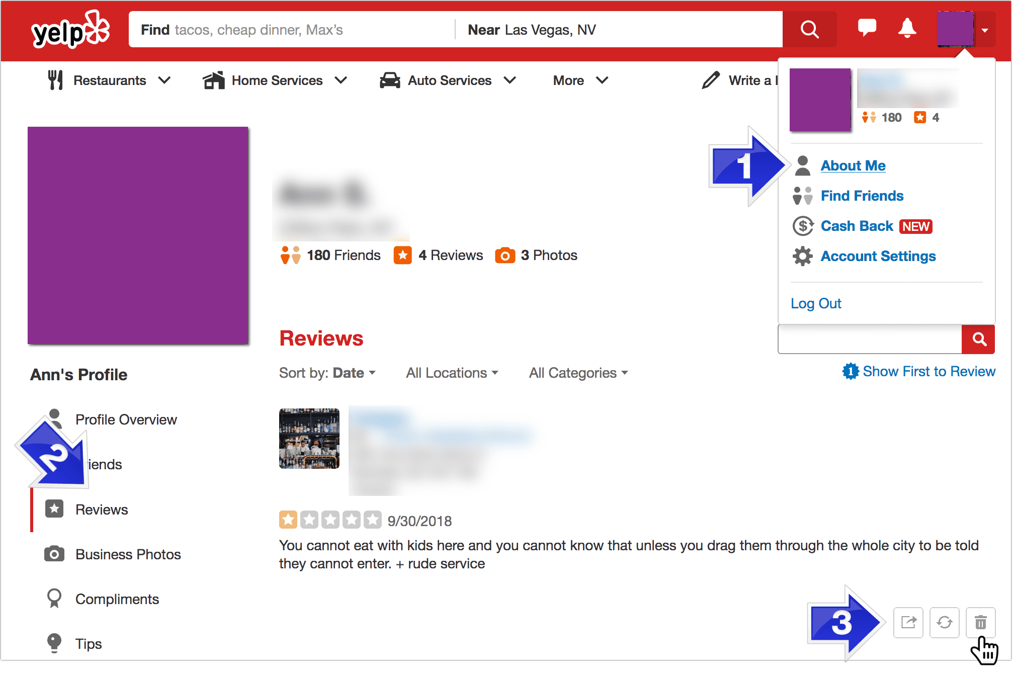 Delete your Yelp reviews prior to deleting your Yelp account