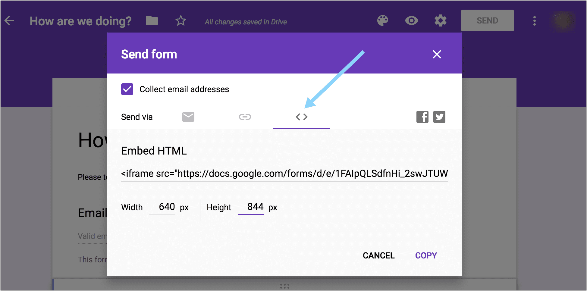 Embed your Google Form survey to collect answers