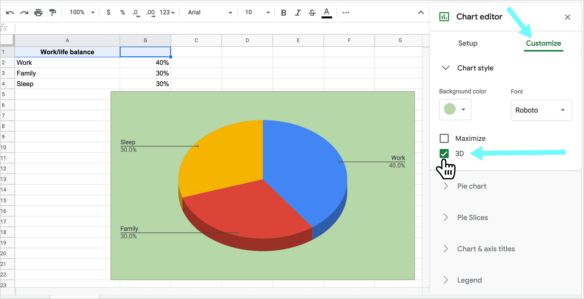 Create a 3D Pie Chart in Google Spreadsheets