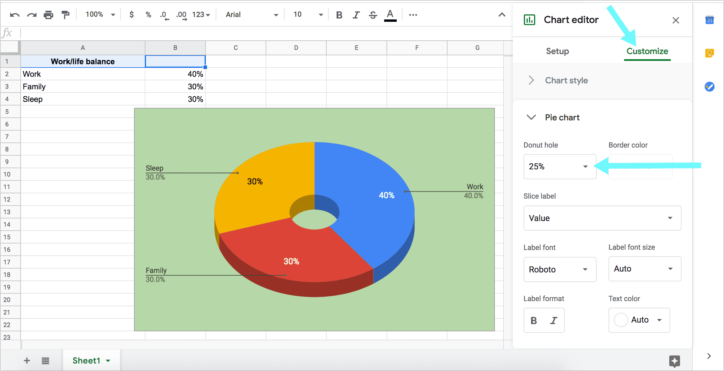 Create a Donut Chart in Google Sheets