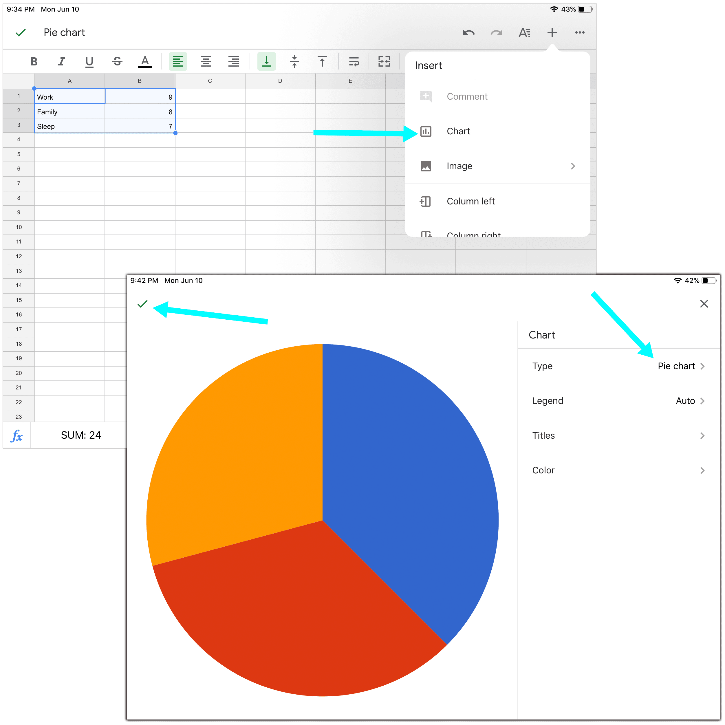 How to Make a Pie Chart in Google Sheets on iPad