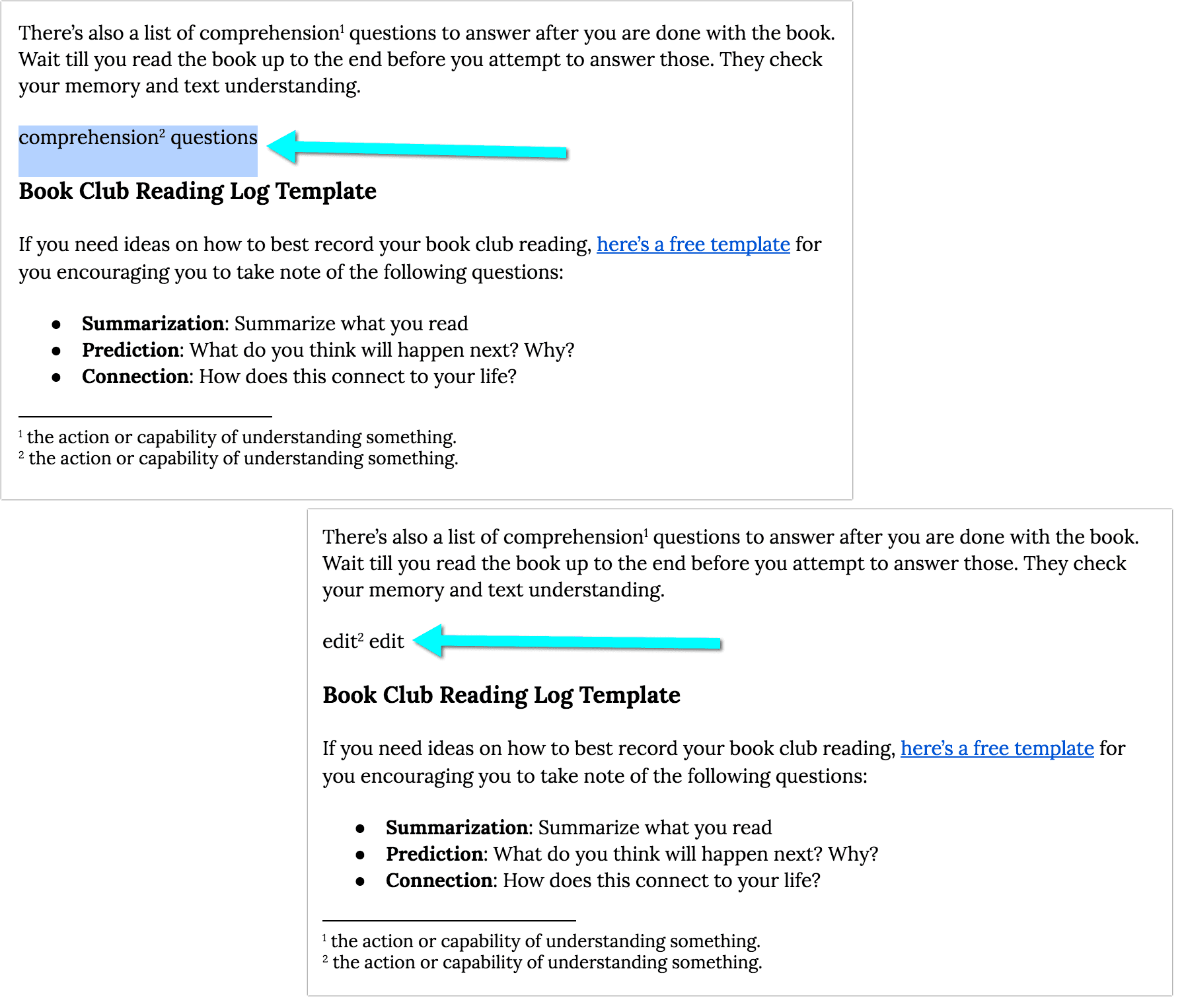 Copy and Paste Footnotes in Google Docs