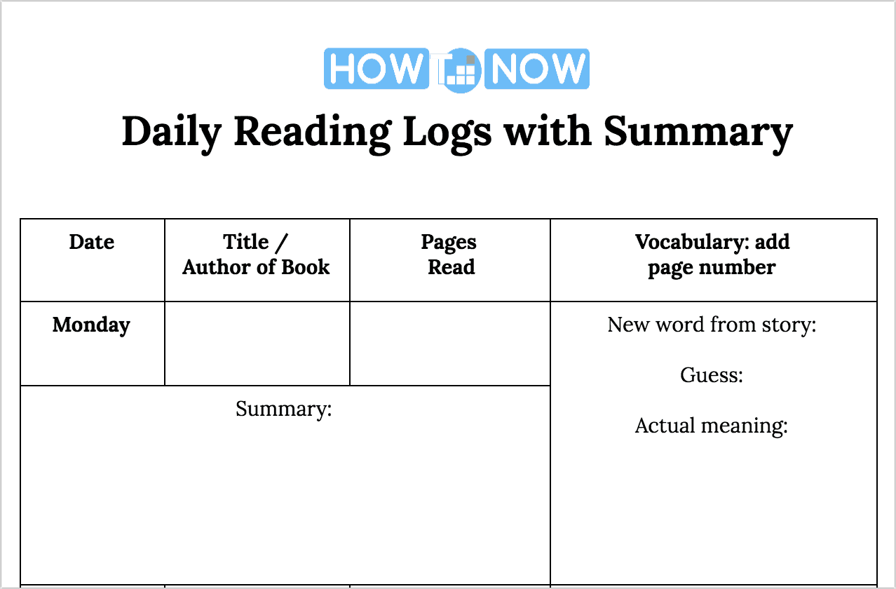 Daily Reading Logs with Summary