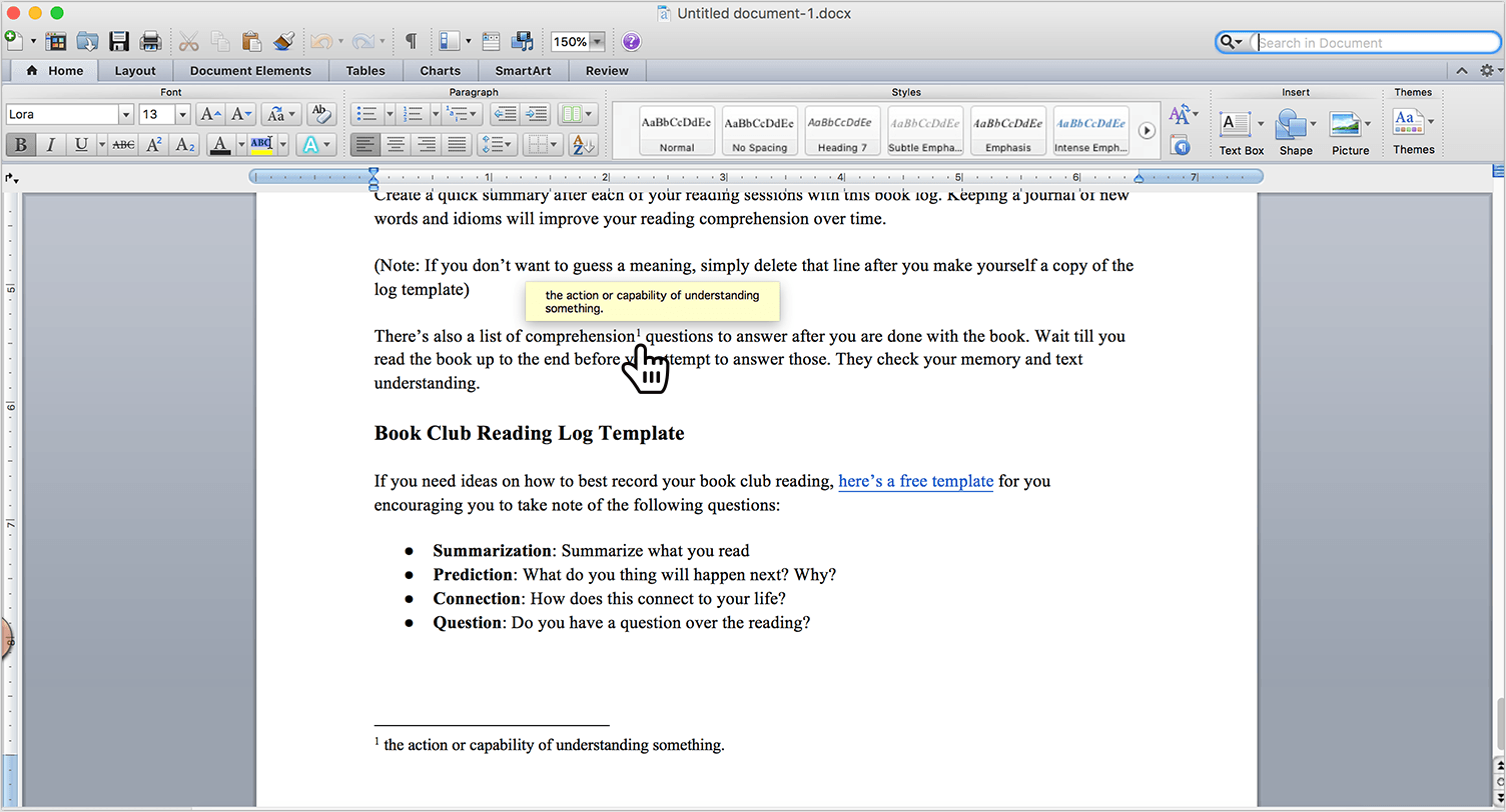 Footnote in a word document