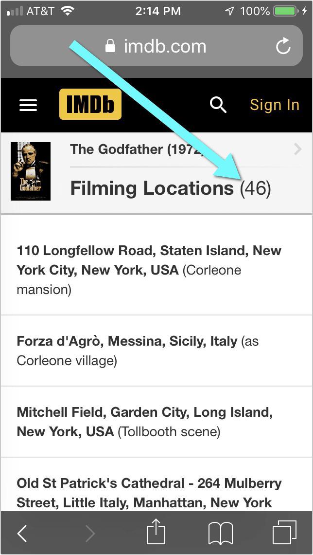 """Filming Locations"" imdb mobile find movie shooting locations"