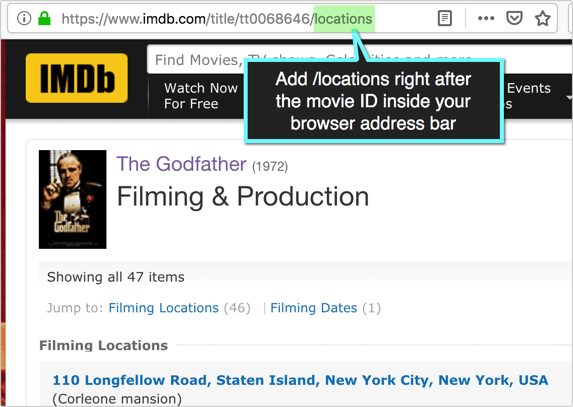IMDB filming locations