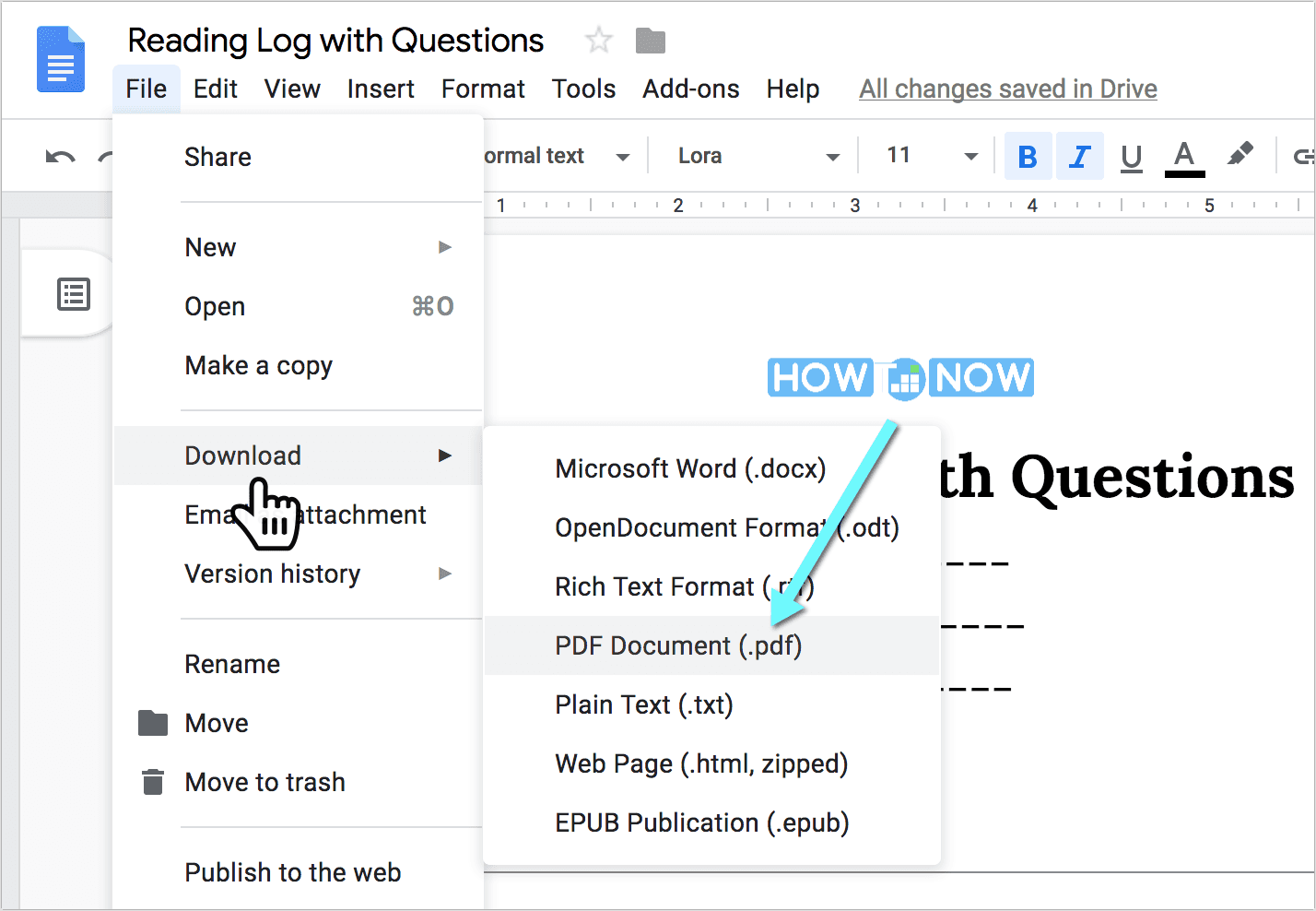 Reading Log with Questions (PDF)