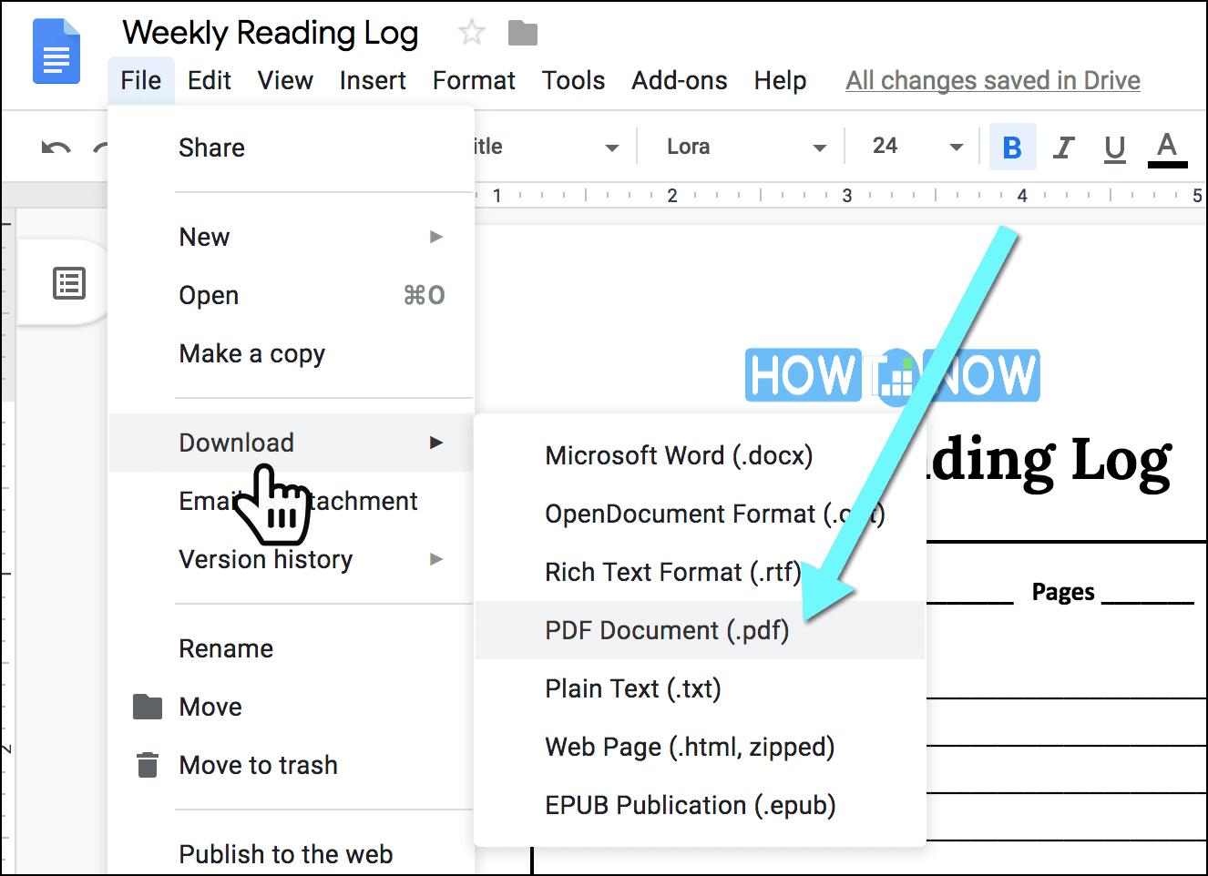 Weekly Reading Log (pdf)