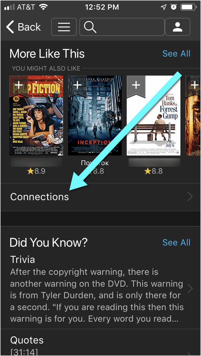 Connections IMDB - Goodreads for movies