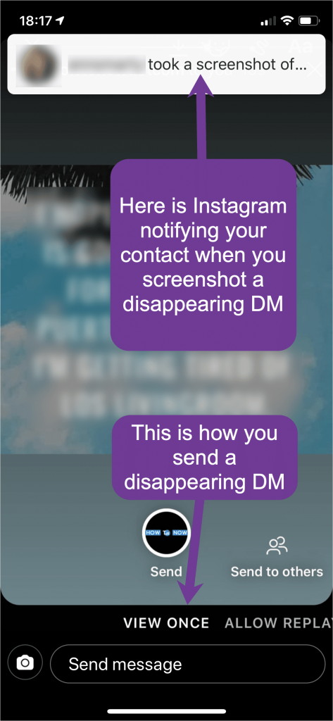 Your contact will be notified when you make a screenshot of a disappearing DM