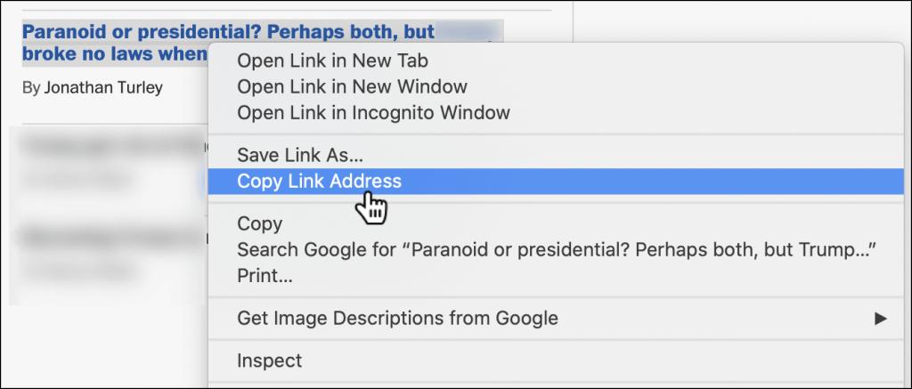 Google chrom copy URL