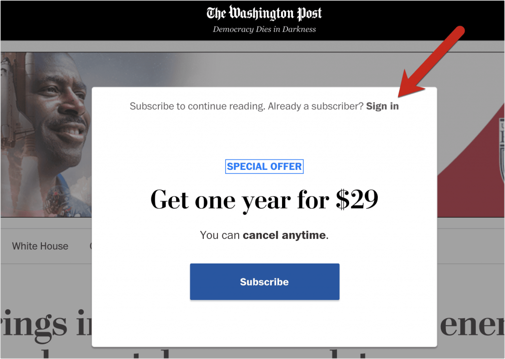 Washington Post paywall hiding content behind a popup