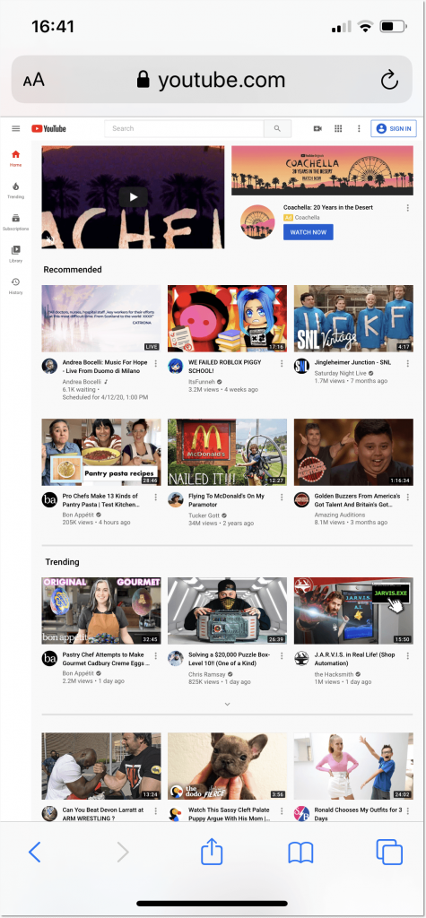 Youtube fll site in Safari