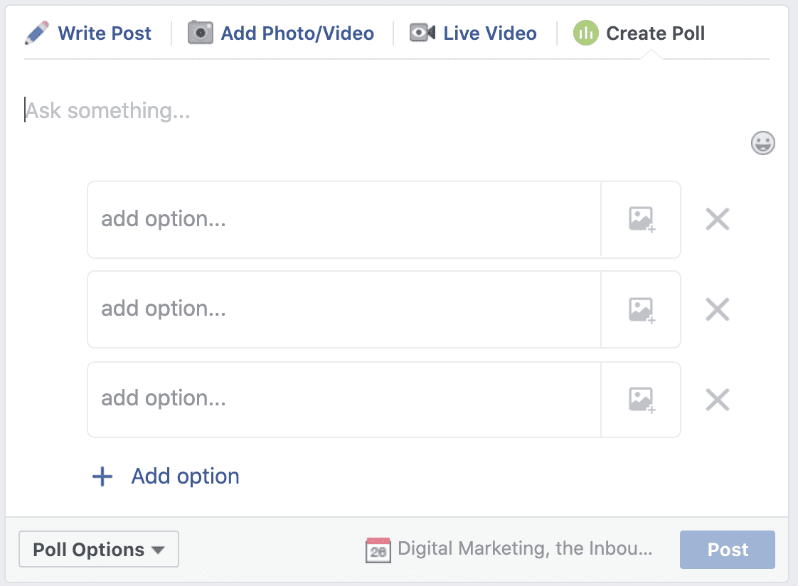 create a poll in a Facebook group