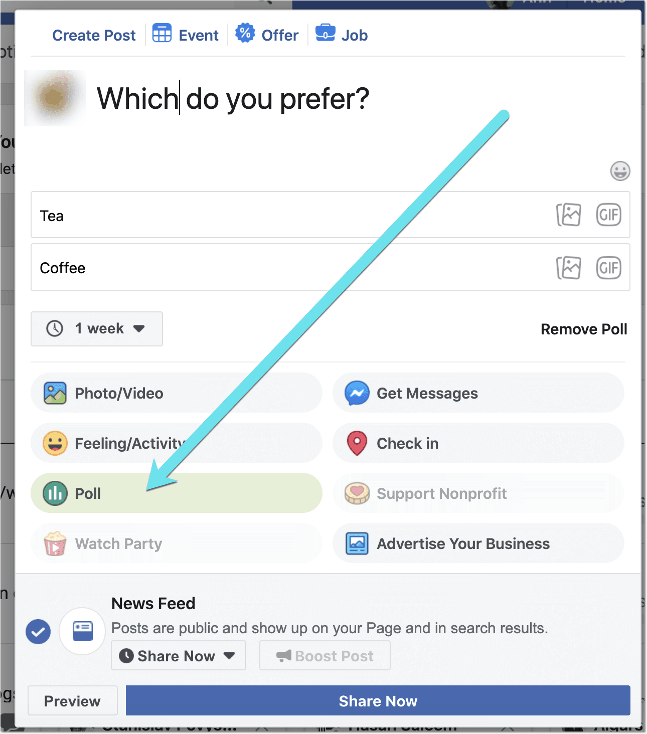 create a poll on Facebook business page