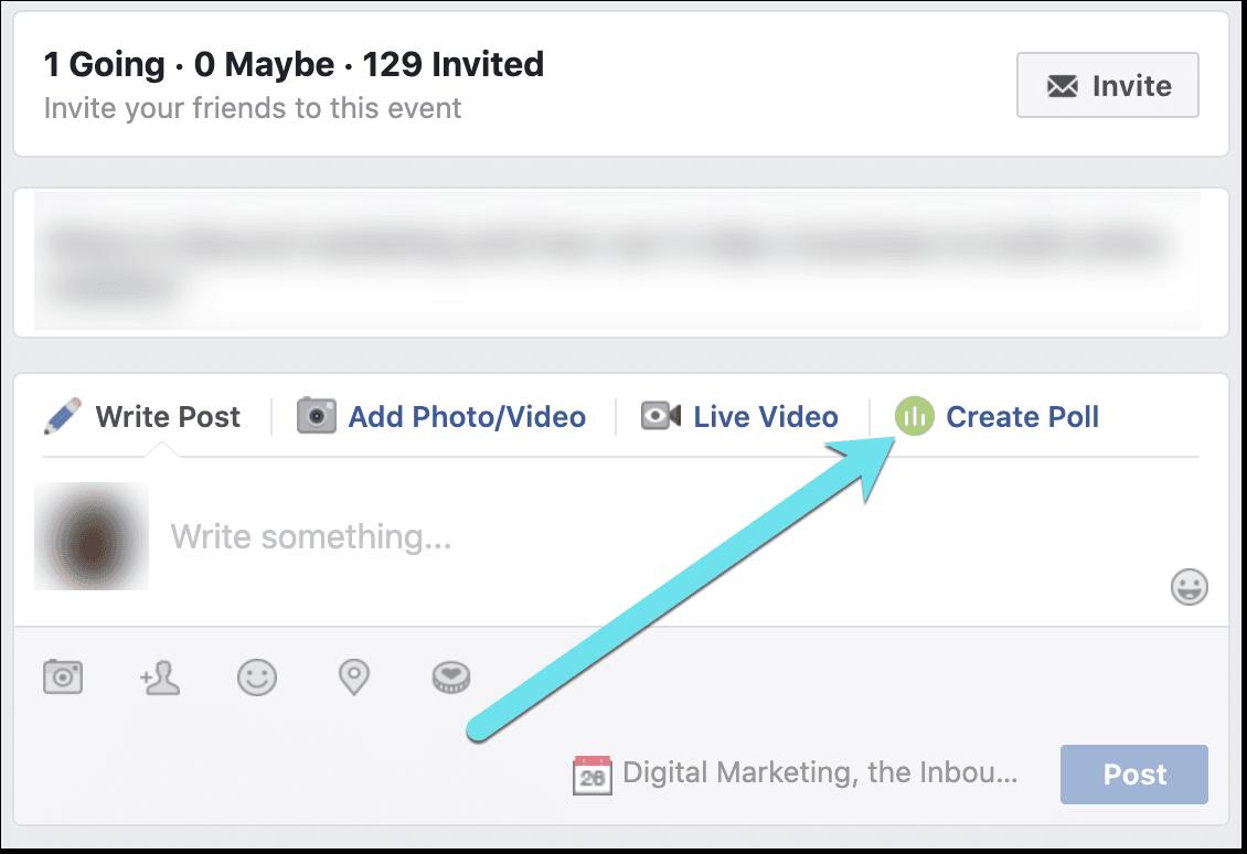 create a poll on a Facebook event